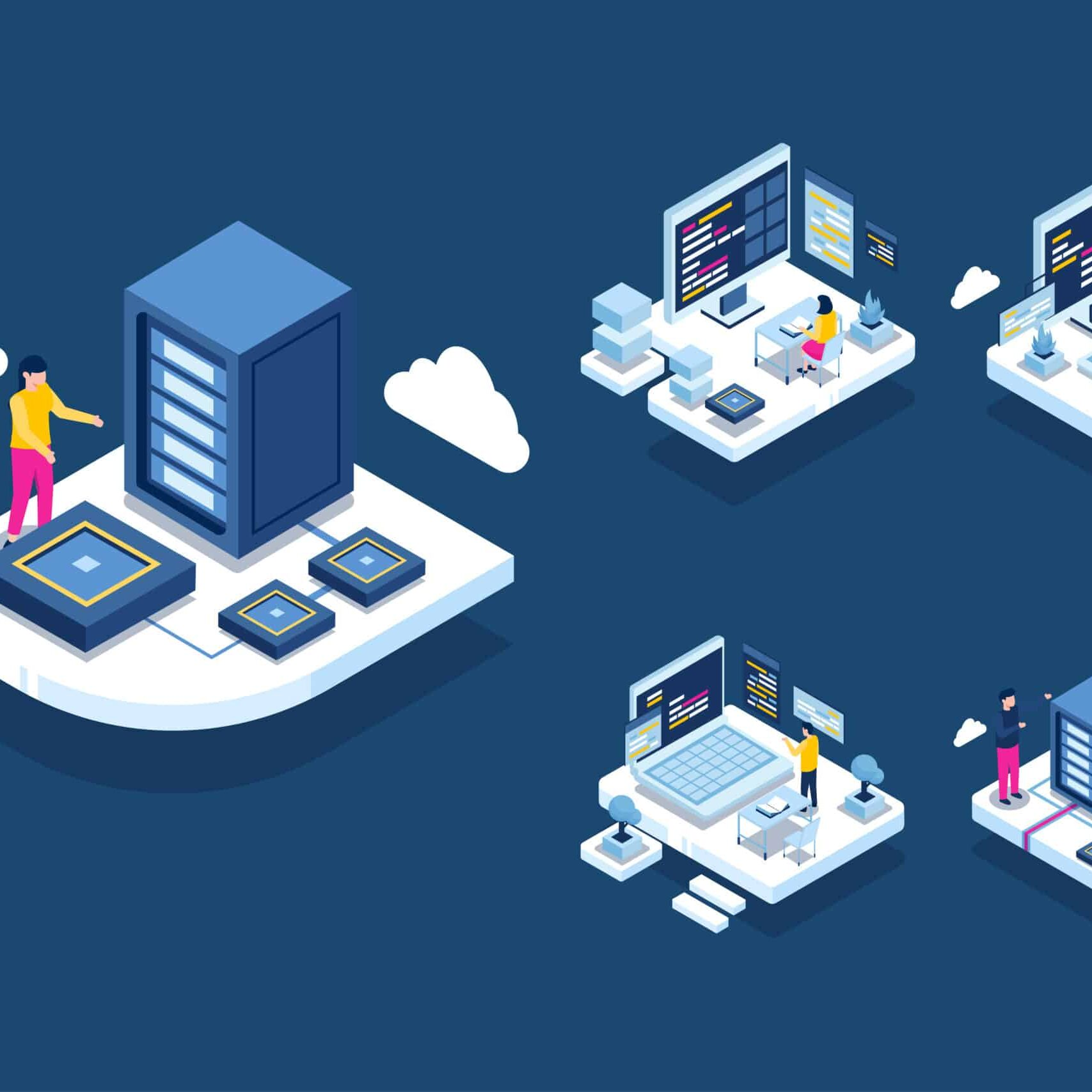 Authorities working in data center room hosting server computer, Provide information services for business, isometric concept vector illustration