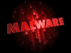 Malware on Dark Digital Background.