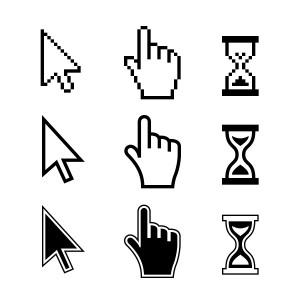 Pixel cursors icons. Hand Arrow Hourglass